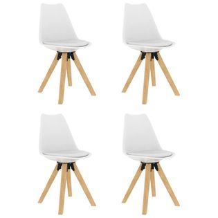 Krzesła stołowe, 4 szt., białe, PP i lite drewno bukowe
