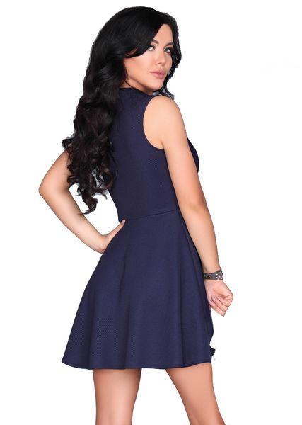 Rozkloszowana elegancka Sukienka z zamkiem w dekolcie granatowa M zdjęcie 2