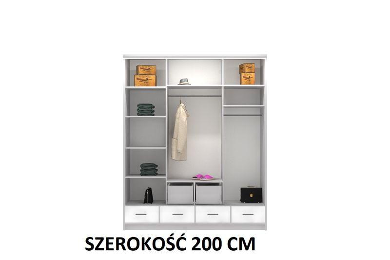 Szafa garderoba przesuwna 250 cm połysk półki szuflady lustro zdjęcie 4