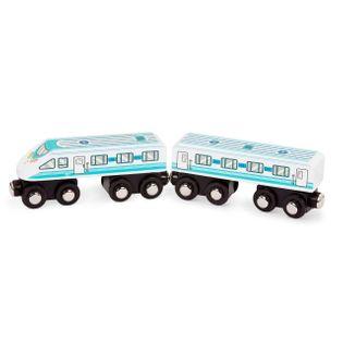 B.Toys drewniany pociąg wagon i lokomotywa turkusowy