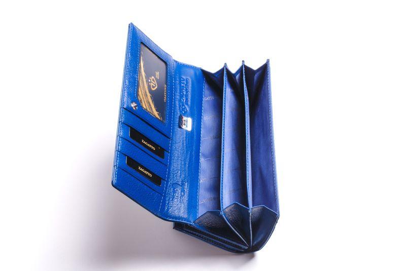 Duży portfel skórzany damski Zagatto granatowy liście RFID ZG-150 Leaf na Arena.pl