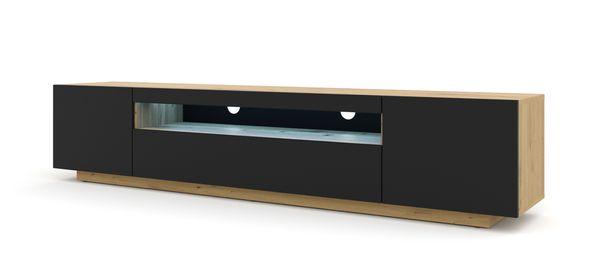 Szafka RTV 200 cm stojąca dąb artisan czarny + LED