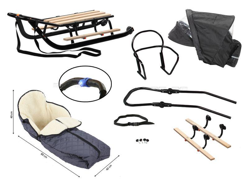 SANKI dla dzieci z budką, śpiworem i mufki, pchacz, podnóżki + kółka zdjęcie 3