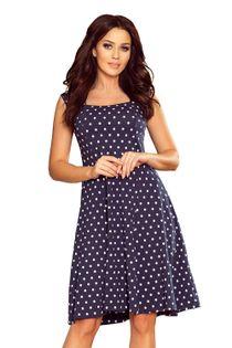 Rozkloszowana sukienka w groszki z kwadratowym dekoltem - Granatowy L