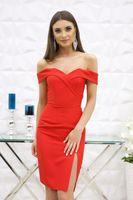 Sukienka Kessy mini bez ramiączek-czerwony S (36)