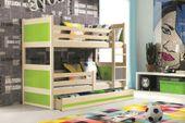 Łóżko dla dzieci meble piętrowe drewniane 160x80 RICO + BARIERKA