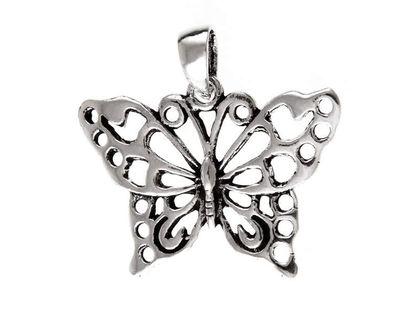 Elegancki oksydowany srebrny wisiorek ażurowy motylek butterfly srebro 925 W0293