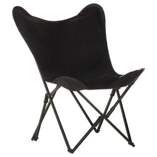 Lumarko Składane krzesło motyl, czarne, skóra naturalna!
