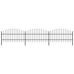Panele ogrodzeniowe z grotami stal (0.75-1)x5.1m czarne VidaXL