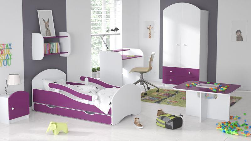 Łóżko dziecięce łóżeczko 140x70 biały / fiolet szuflada materac zdjęcie 4