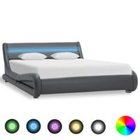 Rama łóżka z LED, szara, sztuczna skóra, 160 x 200 cm