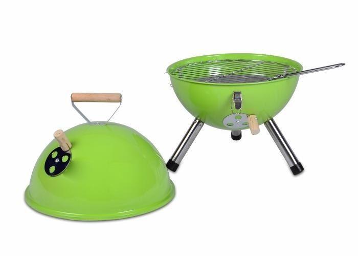 Grill ogrodowy węglowy okrągły, mini grill bbq kolor zielony zdjęcie 2