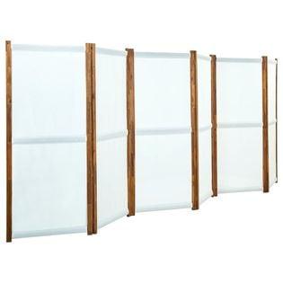 Parawan 6-panelowy kremowy 420x170cm VidaXL