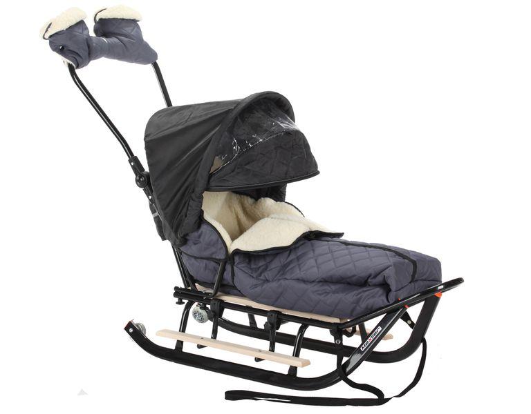 SANKI dla dzieci z budką, śpiworem i mufki, pchacz, podnóżki + kółka zdjęcie 1