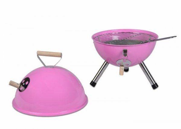 Grill ogrodowy węglowy okrągły, mini grill bbq kolor różowy zdjęcie 4