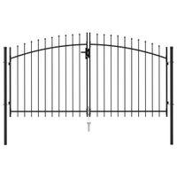 Brama dwuskrzydłowa z grotami, stalowa, 3x1,5 m, czarna