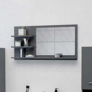 Lumarko Lustro łazienkowe, wysoki połysk, szare, 90x10,5x45 cm, płyta