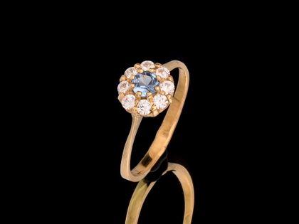 P473 Złoty pierścionek z cyrkoniami 585 /Jubi