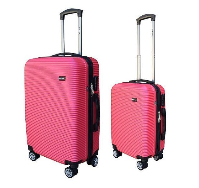 WALIZKA walizki kółka torba samolot ZESTAW M + L RÓŻOWA 1356 + 1357 zdjęcie 1
