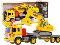 Zabawka auto Ciężarówka z lawetą + koparka ZA1986