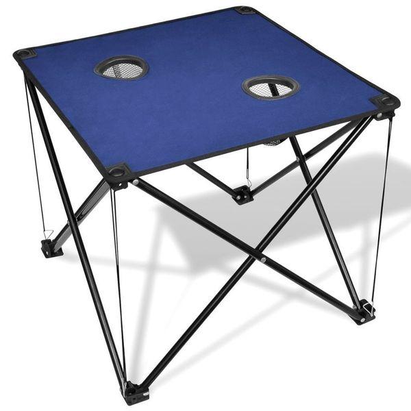 Stół Stolik Kempingowy Ogrodowy Składany Niebieski