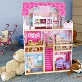Domek dla lalek – drewniany: Rezydencja Malinowa różowy