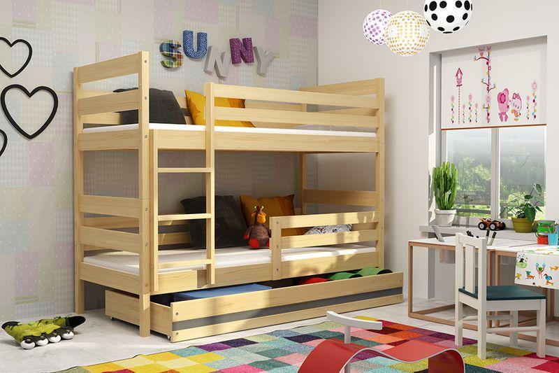 Łóżko piętrowe Eryk 200x90 dla dzieci drewniane meble dziecięce zdjęcie 3
