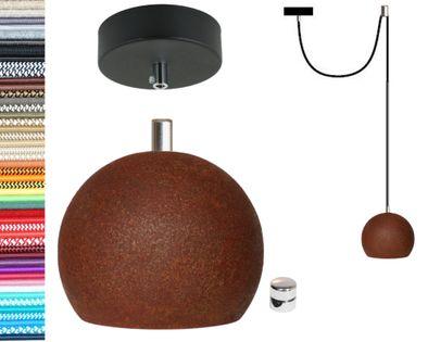 Lampa wisząca kula czarna rdza + gu10 loftowa 2m hamulec chrom