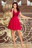 Rozkloszowana sukienka z koronką - Bordowy XL