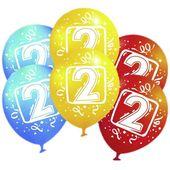 Balony na 2 Urodzny KOLOROWE dwójka dwa 6 szt