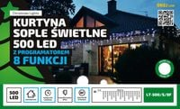 Kurtyna Sople LED 25 m • 500 LED • timer i programator 8 funkcji NR 1823 Wielokolorowy