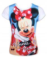 Bluzka Koszulka T-shirt Myszka Minnie 128 biały