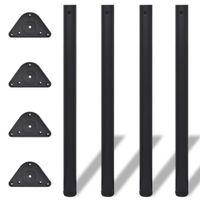 4 Nogi do stołu z regulacją wysokości 870 mm Czarne