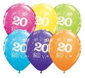 Balony kolorowe z nadrukiem cyfra 20 lat 6 szt 28 cm