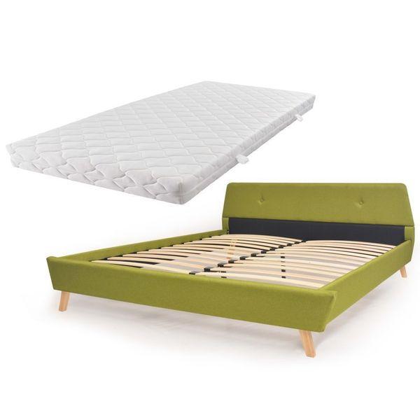 łóżko Rama łóżka Z Materacem 160x200 Zielone Sypialnia