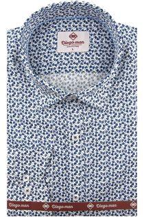Koszula Męska Diego Man biała w kwiatki z długim rękawem w kroju SLIM FIT A580 XXL 45 182/188
