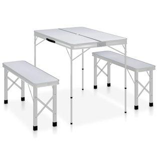 Składany Stolik Turystyczny Z 2 Ławkami, Aluminium, Biały