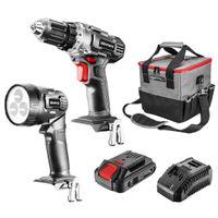 Zestaw elektronarzędzi akumulatorowych: wiertarko-wkrętarka, latarka, torba, akumulator Energy+ 58G016