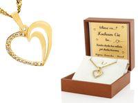 Złote serce 585 łańcuszek prezent dla Niej GRAWER