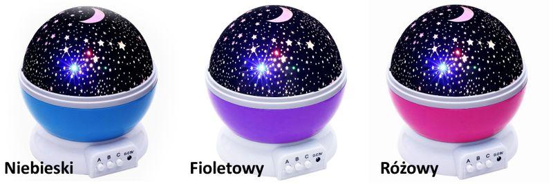 Lampka nocna dziecięca projektor gwiazd nieba obrotowa Y67 zdjęcie 3