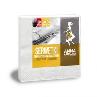 Serwetki Anna Zaradna, Dwuwarstwowe, Składane, 33X33Cm, 50 Szt., Białe, Biały