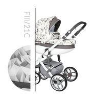 Wózek dziecięcy Faster 3 Style Baby Merc wielofunkcyjny biało szary wzór na białej ramie 3w1