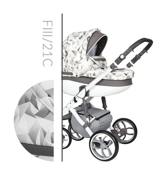 Wózek dziecięcy Faster 3 Style Baby Merc wielofunkcyjny biało szary wzór na białej ramie 3w1 zdjęcie 1