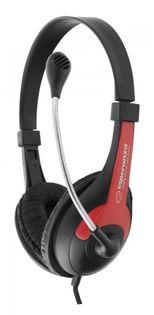 EH158R Słuchawki z mikrofonem Rooster  czerwone Esperanza
