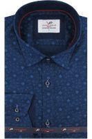 Koszula Męska Viadi Polo granatowa wzór ornament na długi rękaw w kroju SLIM FIT A446 S 37 170/176