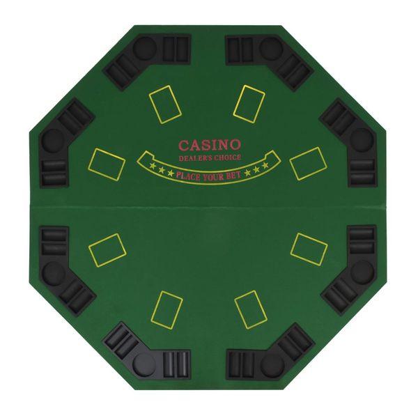 Składany blat do pokera dla 8 graczy, ośmiokątny, zielony zdjęcie 4