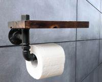 Uchwyt na papier toaletowy z półką industrial loft