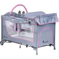 Łóżeczko turystyczne składane dostawne Comfort Plus szaro-różowe