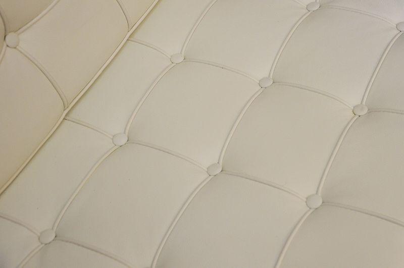 Podnóżek BARCELON biały - skóra, chrom zdjęcie 2