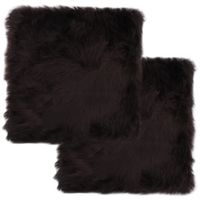 Poduszki na krzesła 2 szt. brązowe 40x40cm owcza skóra VidaXL